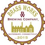 logo for brass works brewing co an outline of waterbury factories inside a gear with text and brewery name