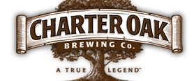 "logo for charter oak brewing company a large brown tree with the words ""charter oak brewing co"" in front"