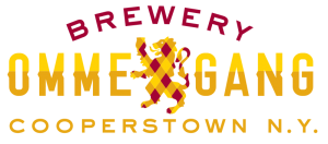 logo for brewery ommegang reads brewery ommegang cooperstown ny with a red and gold checked lion in the middle