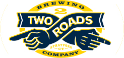 logo for two roads brewing company two hands crossed inside a circle