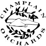 "outline of mountain surrounded by apple tree branches ""champlain orchards"" runs around the outside of the tree branches"