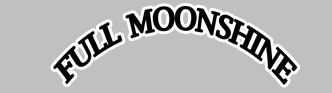 logo for full moon moonshine black text on a grey background