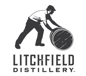 logo for litchfield distillery man rolling a barrel above text