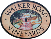 logo for walker road vineyards ellipse with tree in middle and wording on outside