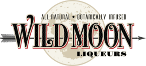 logo for wild moon liquers a white moon with a black arrow shooting through it overlayed with text