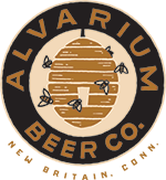 logo for alvarium beer co. includes a hive with bees and text encircling the image.