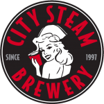 logo for city steam brewery in hartford ct. a pin-up style nurse is surrounded by text.