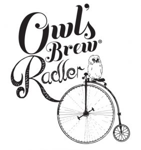 logo for owl's brew radler owl riding an old fashioned bike next to text