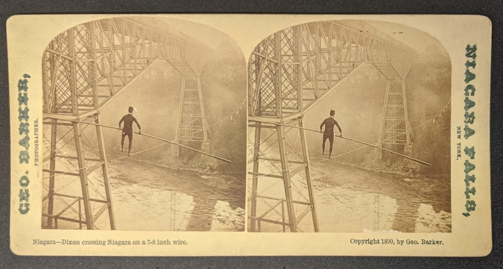 An image from the Stereograph card collection, of Dixon Crossing the Niagara- 1890