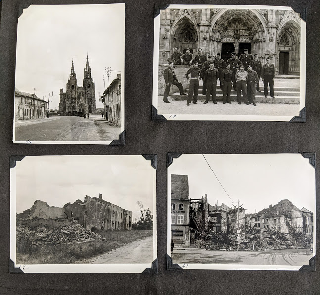 A page of Donnelly's scrapbook depicting soldiers, destruction, and Notre Dame cathedral.