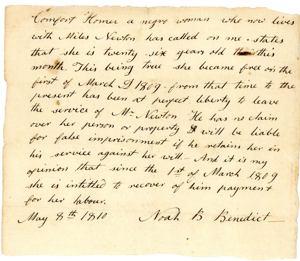 Comfort Homer, Emancipation Document