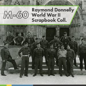 The Raymond Donnelly WWII Scrapbook Collection is composed of one scrapbook that Donnelly created between 1944 and 1946. The scrapbook contains photographs that document the aftermath of WWII in Europe.